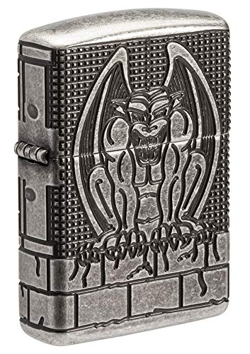 Zippo MultiCut Gargoyle Armor Antique Silver Pocket Lighter