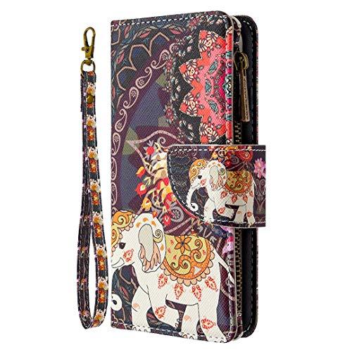 Nadoli Reißverschluss Brieftasche Etui für Samsung Galaxy A82 5G,Bunt 9 Karte Halter Pu Leder Blumen Elefant Entwurf Lanyard Magnetisch Standfunktion Schutzhülle