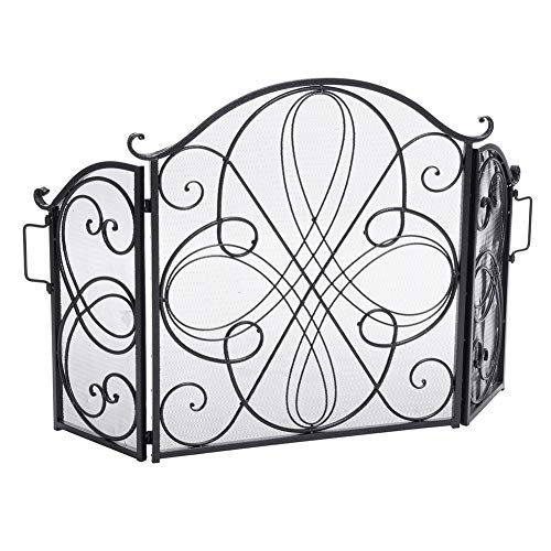 Buy Sturdy 3 Panel Spark Guard with Decor Scroll & Handle - Black Solid Wrought Iron Baby Safety Fir...