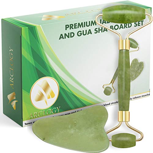 Quartz Jade Roll, Gua Sha Jade Roller Authentic Massager, Natural Roller Anti Aging Facial Massage, Anti Aging Eye, Face and Neck Anti Wrinkle, Face Stone Massage