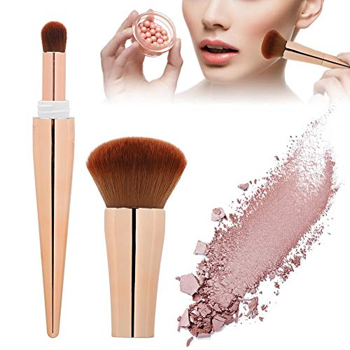 Nannday Ensemble de pinceaux de Maquillage, Kit Professionnel 2 en 1 Multifonctionnel Portable Blusher Brush Powder Cosmetic Brush Makeup Tool Beauty Tool for Women(Or)