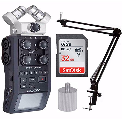 Zoom H6 Handy Recorder w/Knox Boom Arm & Memory Card