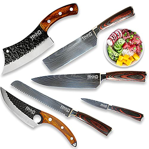 JIKKO New 67 Layers Carbon Steel Japanese Knife Set - Original Series - Kitchen Knife Set with...