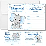 Set of 25 Baby Shower Invitations for Boys with Envelopes, Diaper Raffle Tickets and Baby Shower Book Request Cards - Elephant