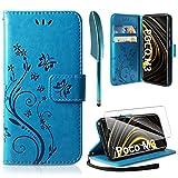 AROYI Coque Compatible avec Xiaomi Poco M3, Retro Design PU Etui Housse en Cuir Portefeuille de Protection Fonction Stand Video Porte Carte Credit Ticket Flip Case Poco M3 Bleu