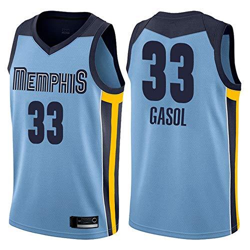 Wo nice Camisetas De Baloncesto para Hombres, Memphis Grizzlies # 33 Marc Gasol Uniformes De Baloncesto Top Top Sports Chaleco Camiseta Sin Mangas,Azul,S(165~170CM)