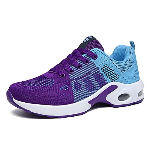 SXQSNKJ Zapatillas para Correr Zapatillas para Mujer Zapatillas Deportivas Ligeras para Exteriores Atlético Gimnasio Fitness Caminar Correr Correr Caminar Zapatillas,Purple-35(UK4)