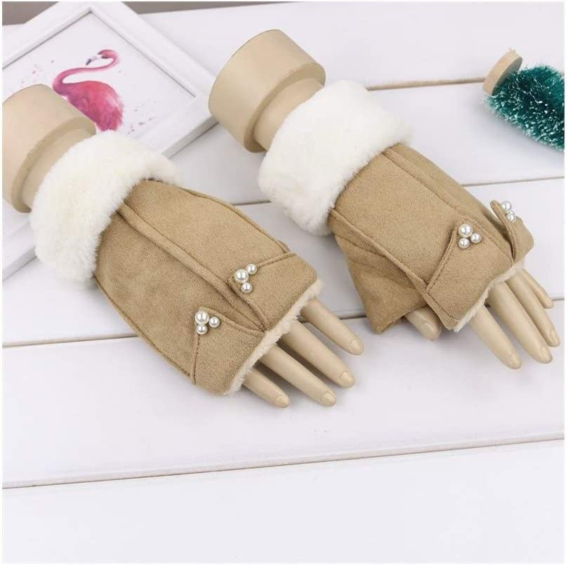 Winter Gloves Suede Gloves Ladies Fingerless Cotton Plush Thick Half Finger Gloves (Color : Khaki, Size : One Size)