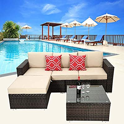 HTTH 4 Piece Outdoor Patio Conversation Furniture Sets, Wicker Couch with Cushions and Coffee Table Garden Lawn Pool Backyard Outdoor Sofa Sets (Brown)