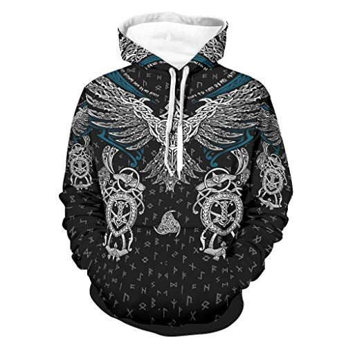 Knowikonwn Sudadera Viking Eagle Hip-Hop con capucha para hombre - Blusa Comfort negro2 m