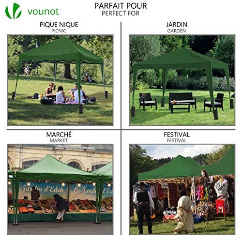VOUNOT 3x3m Pop Up Gazebo with 4 Leg Weight Bags, Folding Party Tent for Garden Outdoor, Green