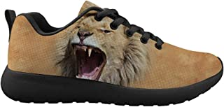 WNFLS Men's Black-Soled Running Shoes 3D Printed Tigers with Sharp teet Pattern Low Upper Laces Sneakers for Walking.