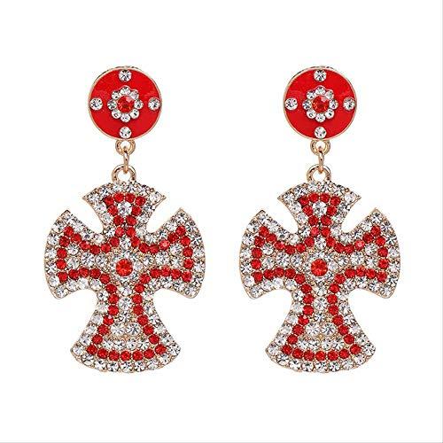 Mujeres Vintage Declaración Cruz Pendientes de lujo barroco bohemia flor de cristal colgante pendientes 6.7 Cm