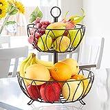 Fruit Basket Stand, 2 Tier Metal Fruit Bowl Vegetables Organizer Storage Counter Top Fruit Holder for Kitchen, Black ALHAKIN