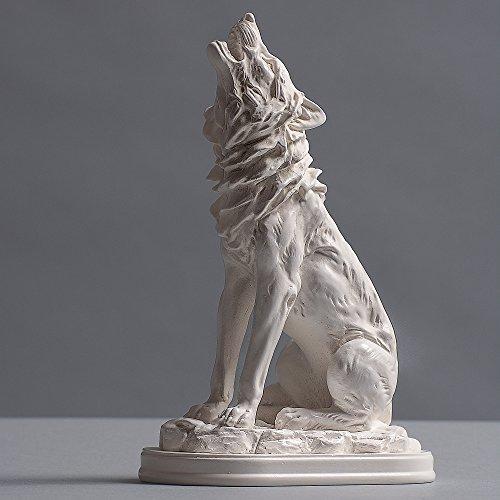 Wolf Skulptur aus hochwertigem Zellan, echte Handarbeit Made in Germany, Büste in weiß, 19cm