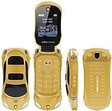 Sports Car Model F15 Mini Flip Phone Dual SIM Card MP3 Backup Phone Best For Kids Students (Gold)