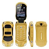 Sports Car Model F15 Mini Flip Phone Dual SIM Card MP3 Backup Phone Best for Kids Students Back to School (Gold)