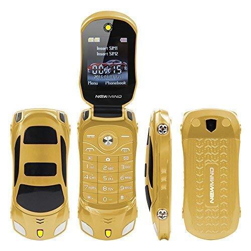 Sports Car Model F15 Mini Flip Phone Dual SIM Card MP3 Backup Phone Best for Kids Students Back to School (Gold)