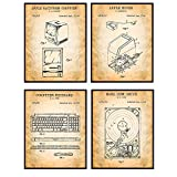 Vintage Computer Patent Art Prints, Monitor, Keyboard, Hard Drive, Mouse Wall Art Poster Set - Chic Home Decor for Office, Man Cave, Den, Bedroom, Living Room - Gift for Tekkie Nerds - 8x10 Unframed