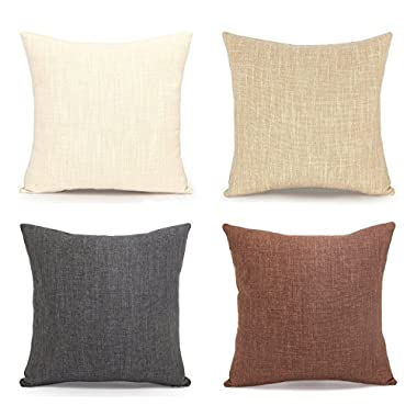 Acanva Decorative Accent Throw Pillow Cushion, with Pillowcase Cover Sham & Insert Filling, Large Size, Solid Color, Set of 4, Charcoal black, ivory white, beige, deep brown