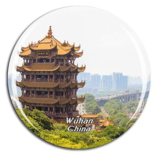 Weekino China Gelber Kranturm Wuhan Kühlschrankmagnet 3D Kristallglas Touristische Stadtreise City Souvenir Collection Geschenk Starker Kühlschrank Aufkleber