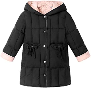 FWEIP Children's Winter Down Cotton Clothing Button Warm Girls Hooded Jackets Outerwear Outdoor Coats