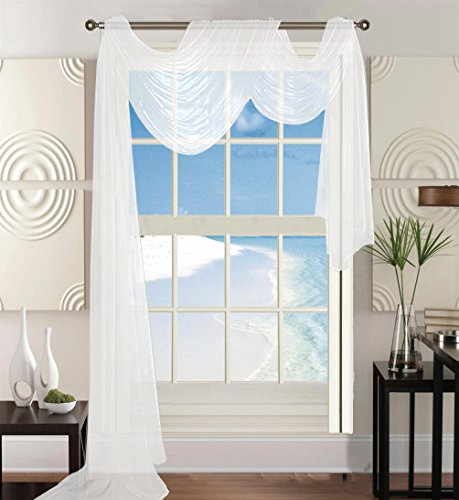 """Elegant Comfort 60 x 216"""" Solid Curtain Sheer Voile Scarf, White"""