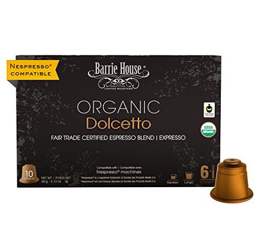 Barrie House Fair Trade Organic Dolcetto Espresso Capsules   60 Pods Per Pack   Compatible with Nespresso OriginalLine Coffee Machines