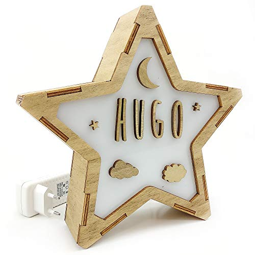 Lámpara Personalizada. Estrella de Madera Luminosa. Lámpara Personalizada con Nombre. Eficiencia energética A. Luna