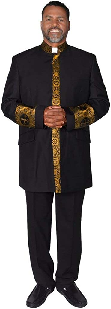 Two Piece Black Clergy Suit with Gold Design Preacher Suit