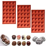 BakingWorld Semicircle Silicone Molds,24 Holes Mini Half Sphere Silicone Mold for Making Hot Chocolate Bomb Cake Decorating Jelly Dome Mousse Pudding and Candy(3 Pack)