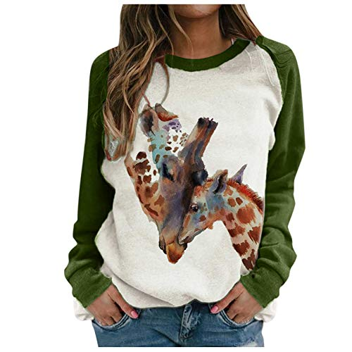 SEWORLD Women Christmas Pullover Sweatshirts Print Long Sleeve Round Neck Loose Casual Pullover Tunic Tops Shirts