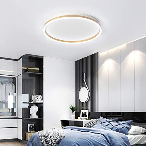 Sencillez Redondo Lámpara De Techo 30W LED Focos El Techo Oro + Blanco Diseño Iluminación Interior Acrílico Decoración Salón Dormitorio Cocina Estudiar Balcón D60CM Regulable(3000K-6000K),D50cm 25w