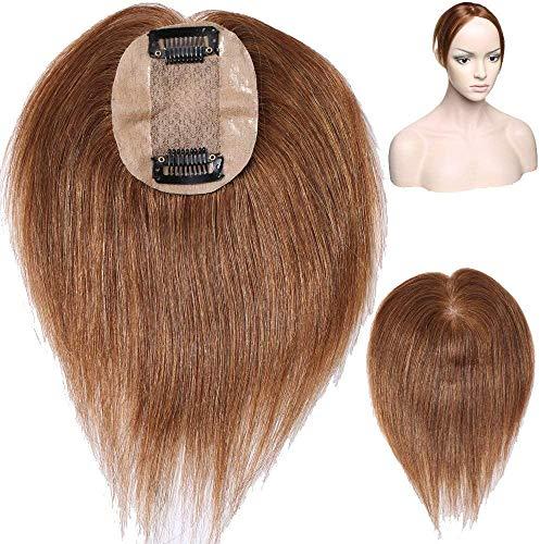 Volumateur Cheveux a Clip Femme - Extension Cheveux Humain Naturel Complément Capillaire Toupet Toppers Hairpiece (#06 Châtain clair, 6 Pouce, 15cm)