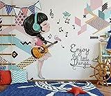 Lovemq Etiqueta Engomada Desprendible Autoadhesiva Del Mural Del Papel Pintado De La Muchacha De La Música 3D-350X230Cm