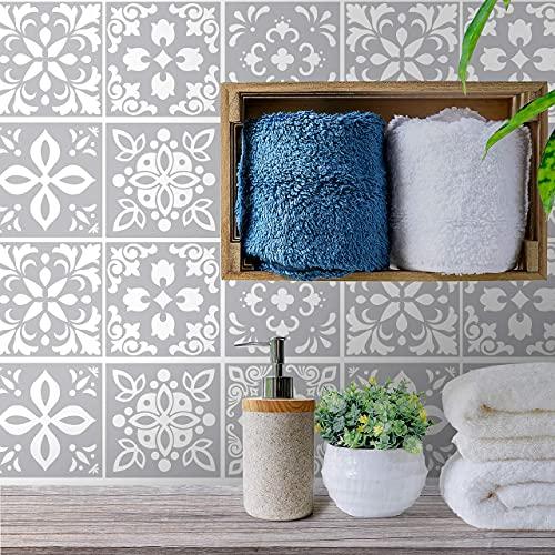 WALPLUS Wall Tile Sticker 15cm 24 pcs Light Grey Cement DIY Art Home...