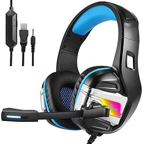 FChome Gaming Headset for PS4, PC, Xbox One Controller, Nintendo Switch, iPad,Mac, Laptop, Noise Cancelling Over Ear Headphones with Mic, LED Light, Bass Surround Soft Memory Earmuffs (Black-Blue)