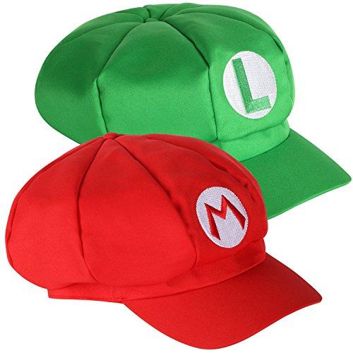 TRIXES Set mit 2 Super Mario Mützen Kappen Mario und Luigi rot und grün Videospiel