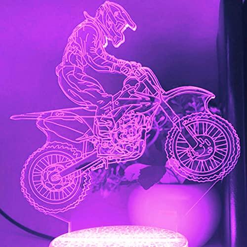 3D LED lámparas Motocicleta ilusion optica luz de noche 7 colores Contacto Arte Escultura luces con cables USB Lampara nocturna Decoracion Dormitorio escritorio mesa para niños adultos