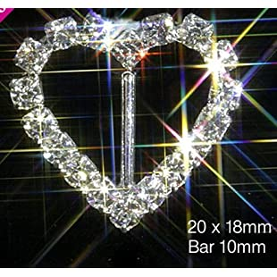 Top Quality Heart Diamante Rhinestone Ribbon Buckle Slider With Vertical Bar - Pack of 10