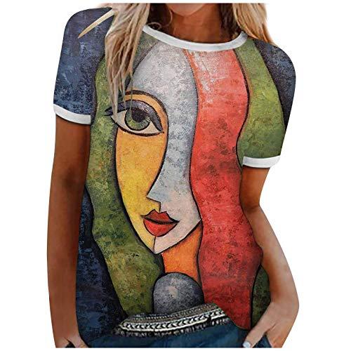 YANFANG Top de Verano para Mujer, Estampado Abstracto, de Manga Corta, con retales, Blusa, Tops,Camisas Deportivas para Mujer, Blusa