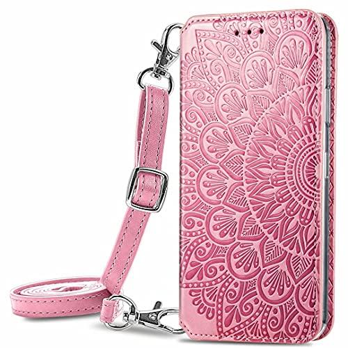 JIAFEI Funda para Xiaomi Redmi Note 10 5G Billetera, Premium Elegante PU + TPU Flip Billetera Leather Case Cover Estuche [Tiene un cordón Desmontable], Rosa