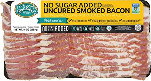 Pederson's Natural Farms, Non GMO Hickory Smoked Uncured No Sugar Added Bacon - 10 Pack – Whole 30 Approved, Keto Diet, Paleo Diet, Nitrite and Nitrate Free, Sugar Free Bacon
