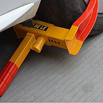 Flexzion Wheel Lock Clamp Anti-Theft Towing Parking Boot Tire Claw Heavy Duty Adjustable for Auto Car Rv Boat Trailer Automotive Golf Carts with Two Keys in Red & Yellow