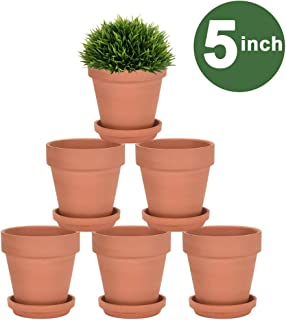 5 Inch Terra Cotta Pots with Saucer - 6 Pack Clay Flower Pots with Drainage, Great for Plants, Crafts, Wedding Favor (5 inch)