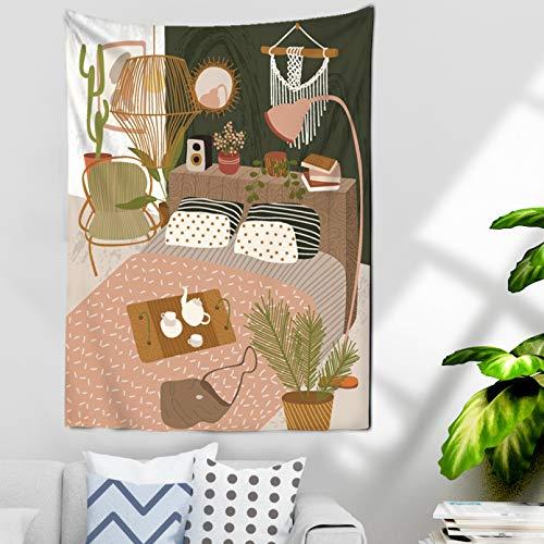 N/A Impresión 3D tapices Ilustración Bohemia Chica Africana Gato Colgante de Pared Lienzo Pintura Tapiz nórdico para Sala de Estar árbol Tela de Pared Regalo de Arte casero de Moda