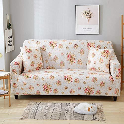 QRTQ Funda de sofá Fundas para sillas Poliéster Elástica Fundas sillas Impresión Elástica Funda para Sofá Chaise Longue en Forma de L (Blanco,1 plazas: 90-140cm)