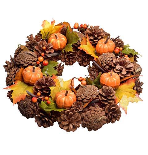 HEITMANN DECO Bunter Herbstkranz - Herbstdeko Natur mit Kürbissen, Türkranz zum Aufhängen, Tischdeko - Braun, Orange, Grün - Ø ca. 35 cm