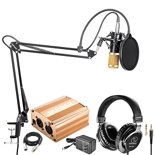 Neewer NW-800 Condenser Microphone(Black/Gold) and Monitor Headphones Kit with 48V Phantom Power Supply (Gold), NW-35 Boom Scissor Arm Stand, Shock Mount and Pop Filter for Home Studio Sound Recording