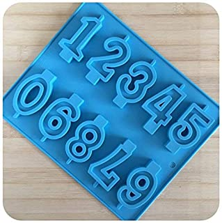Amos 10 Cavity Numbers (0-9 Fondant) in Blocks Chocolate Candy Ice Candle Cake Decoration Embeds Silicone Mold/Mould Rando...